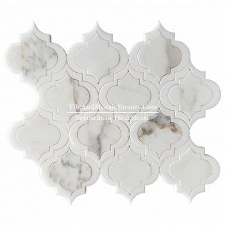 Waterjet Calacatta Mosaic Thassos White Multi Color