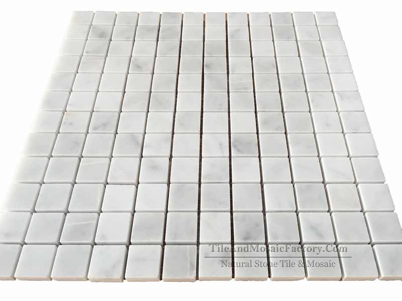 Bianco Carrara C Square Polished Marble Mosaic 1x1″