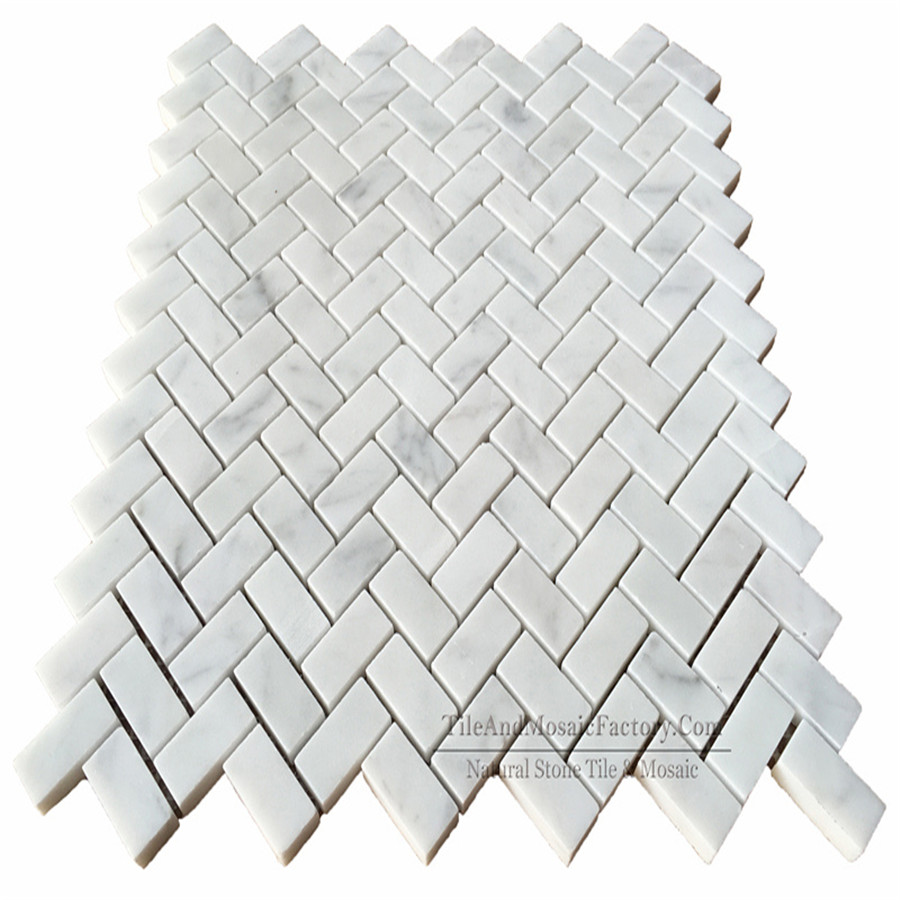 Bianco Carrara C Herringbone 5/8x1″ Polished Marble Mosaic