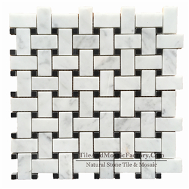 Bianco Carrara C Basketweave 2.3x4.8cm w/Black Dots Polished White Marble Mosaic